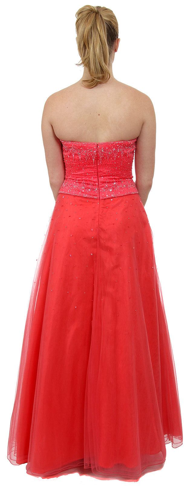 Back image of Watermelon A-line Beaded Prom Dress