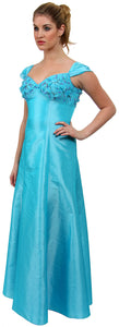 Main image of A Line Cap-sleeved Beaded Prom Dress