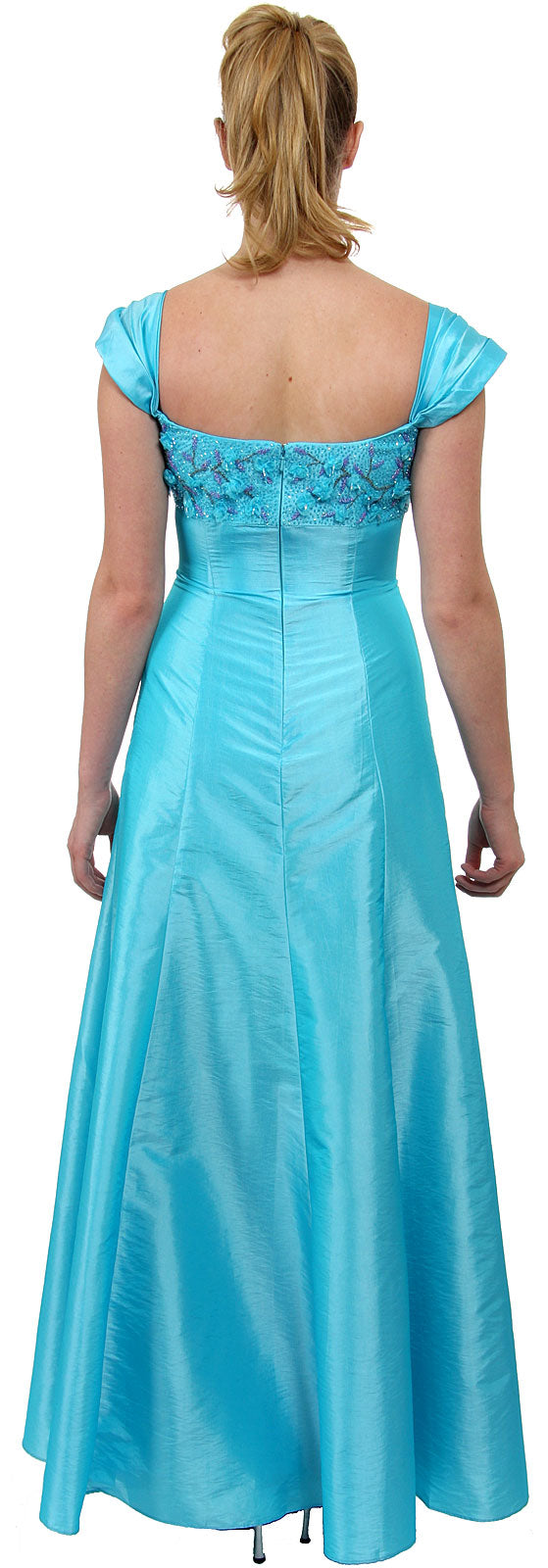 Back image of A Line Cap-sleeved Beaded Prom Dress