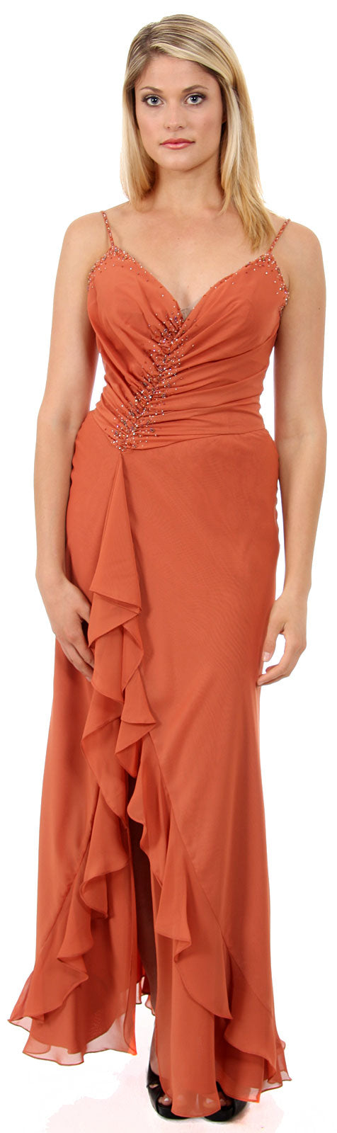 Main image of Shirred And Beaded Ruffled Long Prom Dress With Slit
