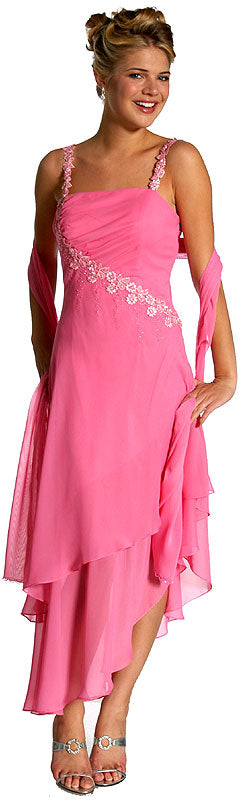 Image of Floral Pink Asymmetric Layered Prom Dress in Pink