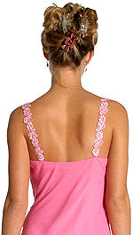 Image of Floral Pink Asymmetric Layered Prom Dress back in Pink