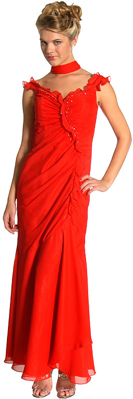 Image of Ruffle Beaded Formal Dress in Red