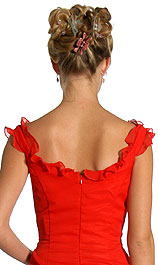Image of Ruffle Beaded Formal Dress back in Red