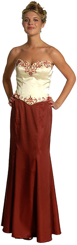 Image of 2 Piece Strapless Form Fitting Formal Prom Dress in Burgundy
