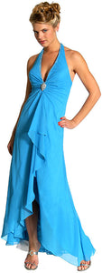 Main image of Halter Neck Formal Prom Dress With Ruffles And Brooch
