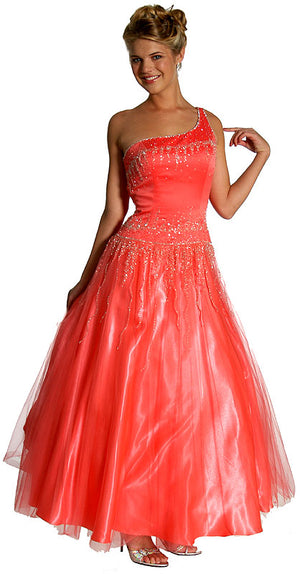 Image of Single Shoulder & Silver Beaded Prom Dress in Watermelon color
