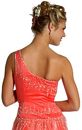 Back image of Single Shoulder & Silver Beaded Prom Dress