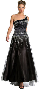 Main image of Single Shoulder & Silver Beaded Prom Dress