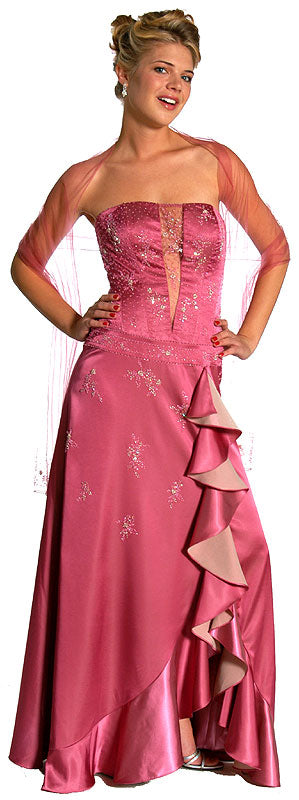 Main image of Strapless Beaded Prom Dress With Cascading Ruffles