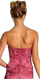 Back image of Strapless Beaded Prom Dress With Cascading Ruffles