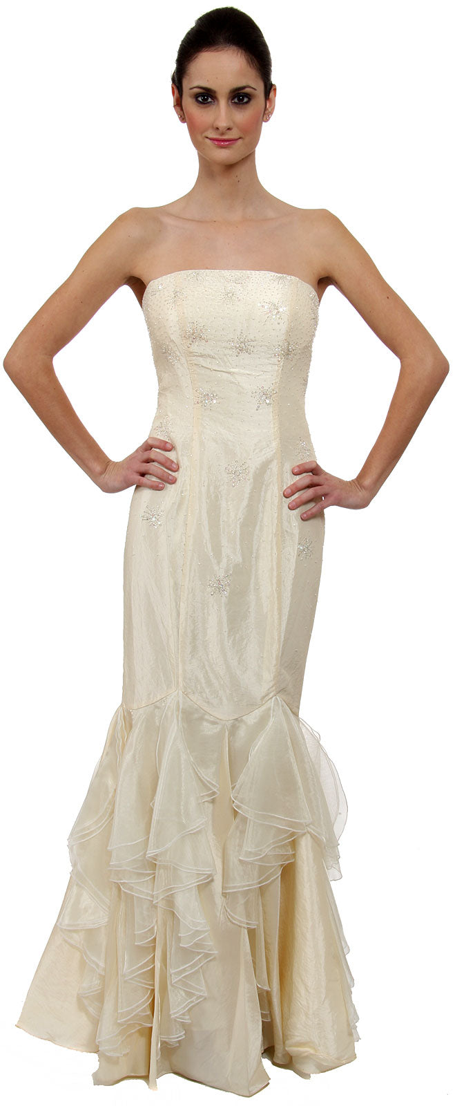 Image of Beaded Mermaid Cut Style And Ruffled Prom Dress in Ivory