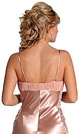 Back image of Pleated Long Formal Beaded Prom Dress