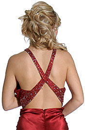 Back image of V-strapped Beaded Long Formal Prom Dress