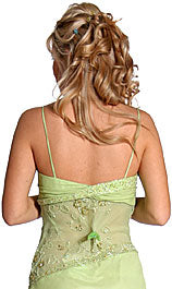 Back image of Ruffled And See-thru Formal Prom Dress