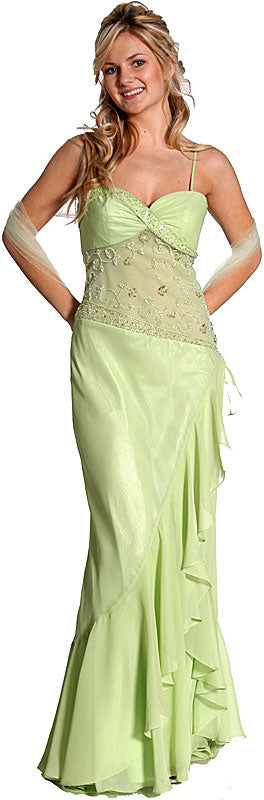 Main image of Ruffled And See-thru Formal Prom Dress