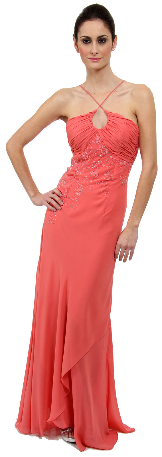 Main image of Keyhole Ruched Bust Beaded Formal  prom Dress