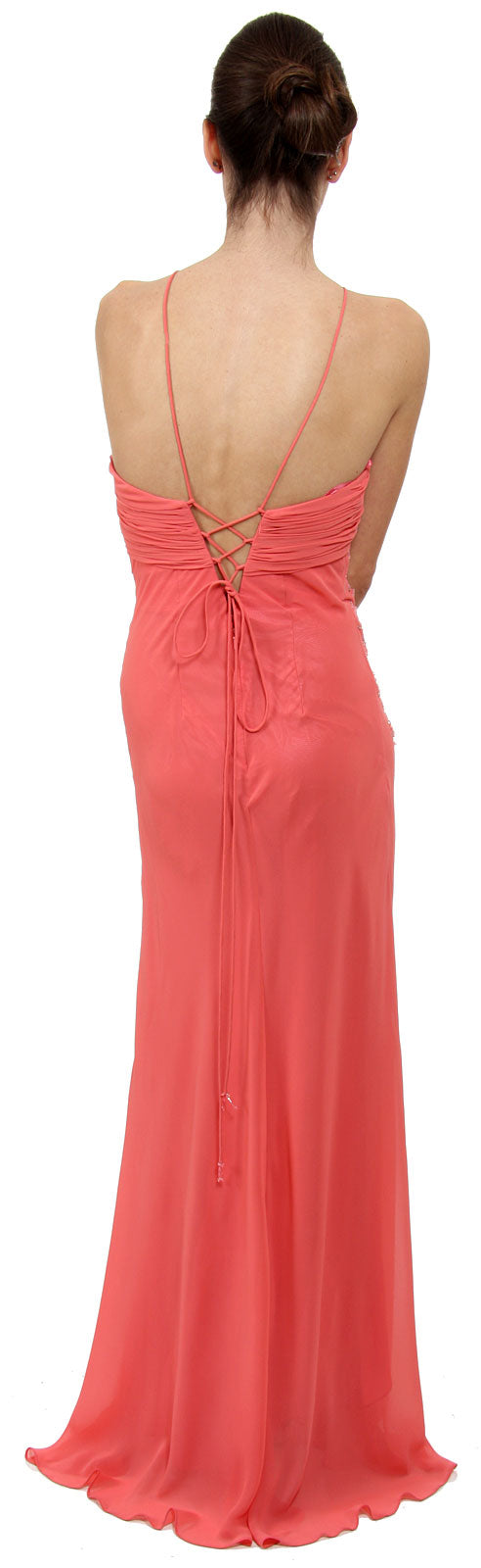 Back image of Keyhole Ruched Bust Beaded Formal  prom Dress