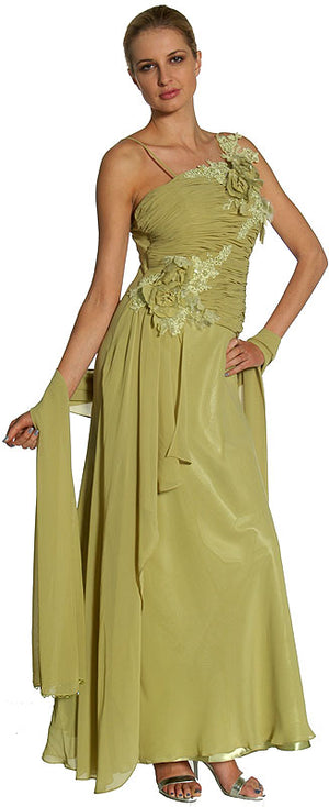 Image of Asymmetric Top Floral And Sheered Formal  dress in Green