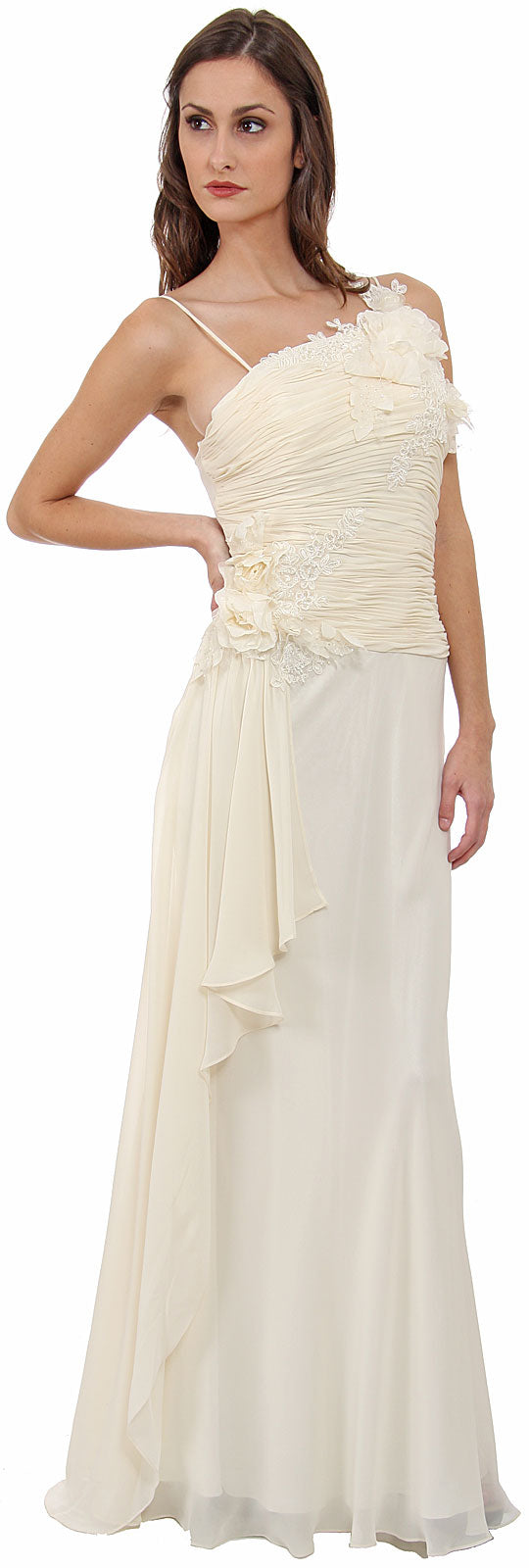 Main image of Asymmetric Top Floral And Sheered Wedding Dress