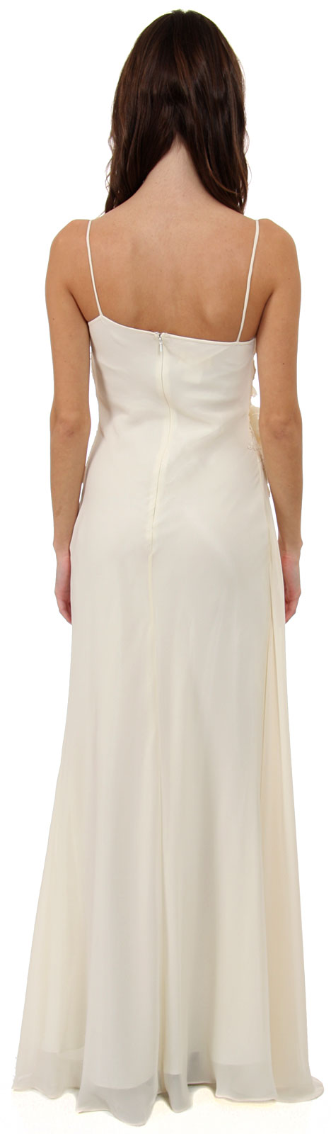 Image of Asymmetric Top Floral And Sheered Formal  dress back in Ivory