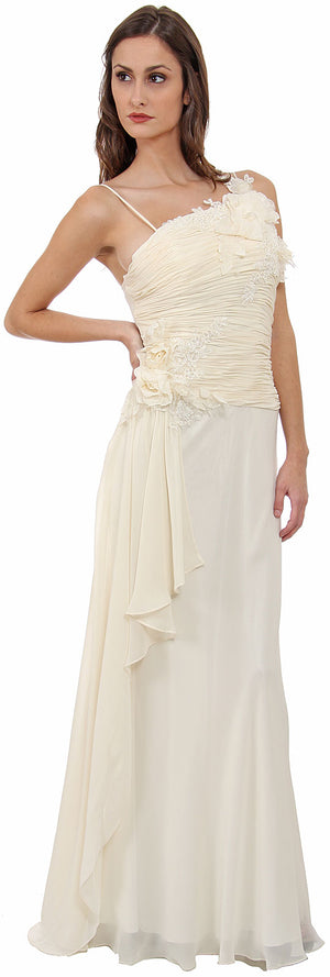Image of Asymmetric Top Floral And Sheered Formal  dress in Ivory