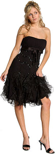 Main image of Ruffled Strapless Short Prom Dress