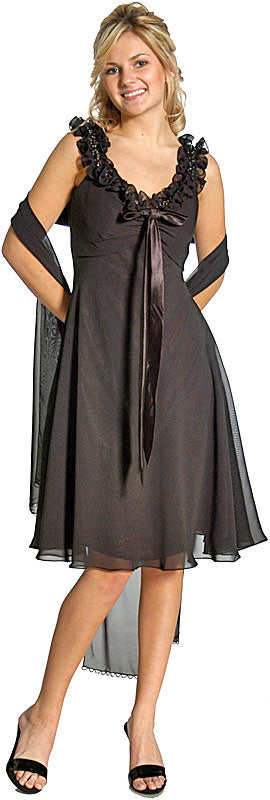 Image of Ruffled Short Cocktail Prom Dress in Black