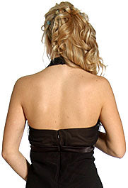 Back image of Halter Sheer Neck Short Formal Party Dress