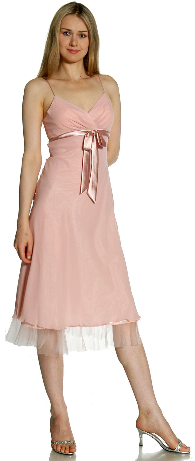 Image of Spaghetti Straps Satin Bow Tea Length Cocktail Party Dress in Dusty Rose