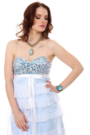 Image of Sequin Bodice Short Party Dress With Cascading Ruffles in alternative picture