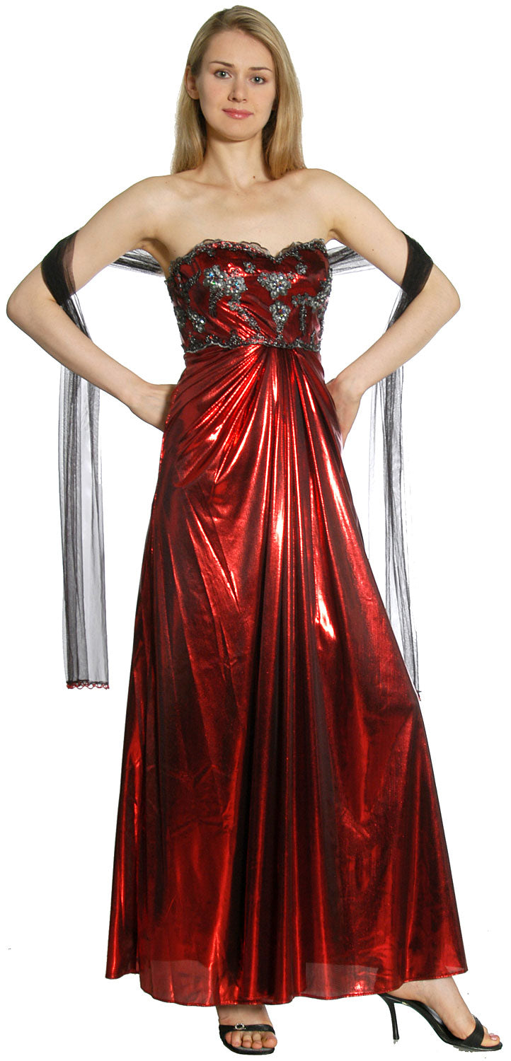 Image of Strapless Sweetheart Formal Evening Dress in Burgundy alternative view