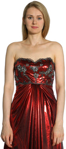 Image of Strapless Sweetheart Formal Evening Dress in Burgundy closeup