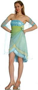 Image of Short Wrap-around Prom Dress in Light Blue alternative view