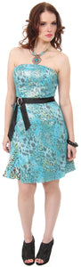 Main image of Strapless Animal Print Short Party Dress With Sheer Overlay