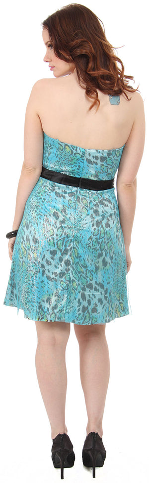 Back image of Strapless Animal Print Short Party Dress With Sheer Overlay