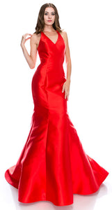 Main image of Halter Neck Ruffled Back Floor Length Prom Pageant Dress