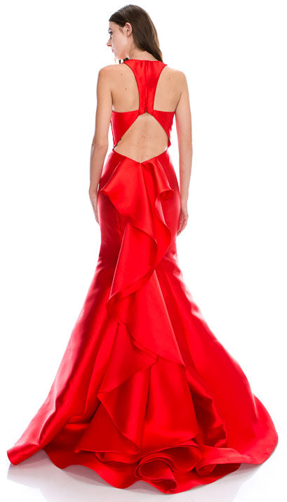 Back image of Halter Neck Ruffled Back Floor Length Prom Pageant Dress