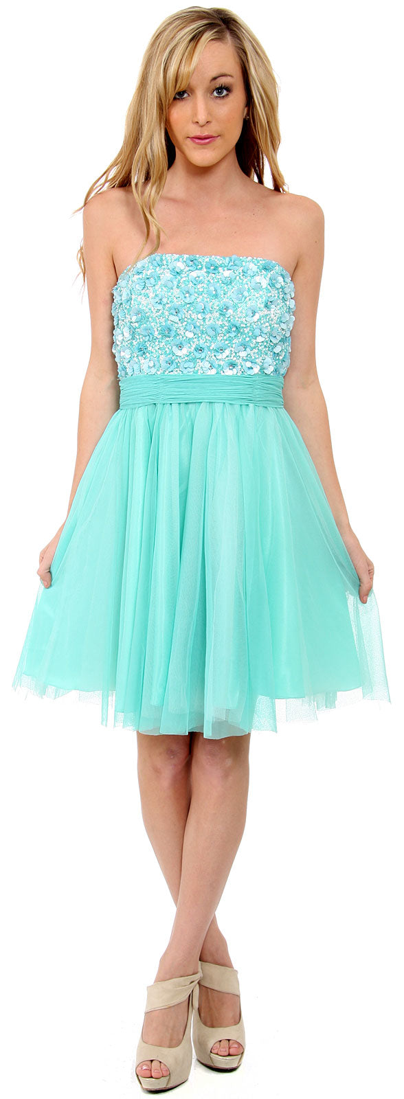 Image of Strapless Flowered Sequined Short Dress in Aqua/Multi