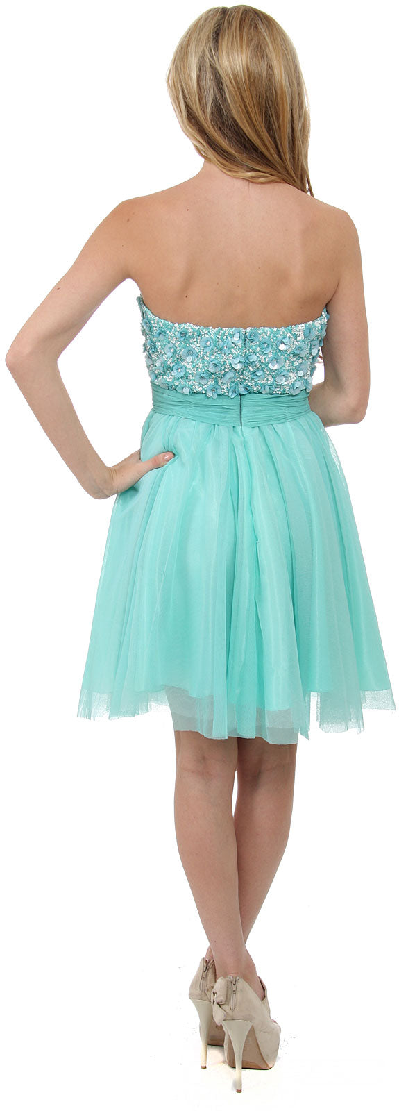 Image of Strapless Flowered Sequined Short Dress back in Aqua/Multi