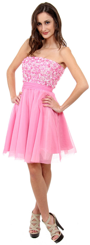 Main image of Strapless Flowered Sequined Short Dress