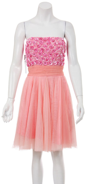 Image of Strapless Flowered Sequined Short Dress in Pink/Peach
