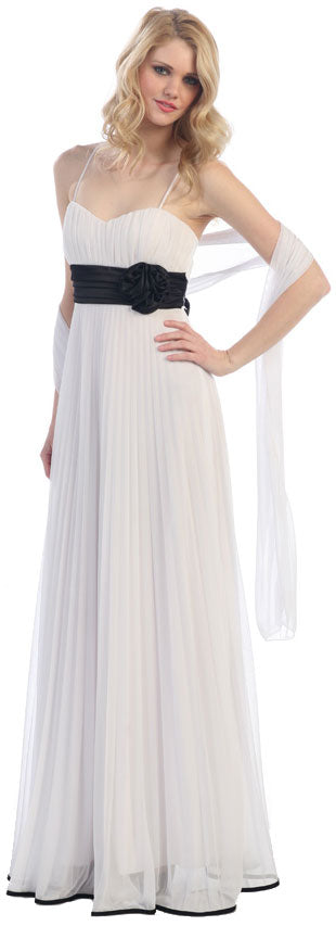 Image of Roman Inspired Long Formal Dress With Floral Applique in White/Black