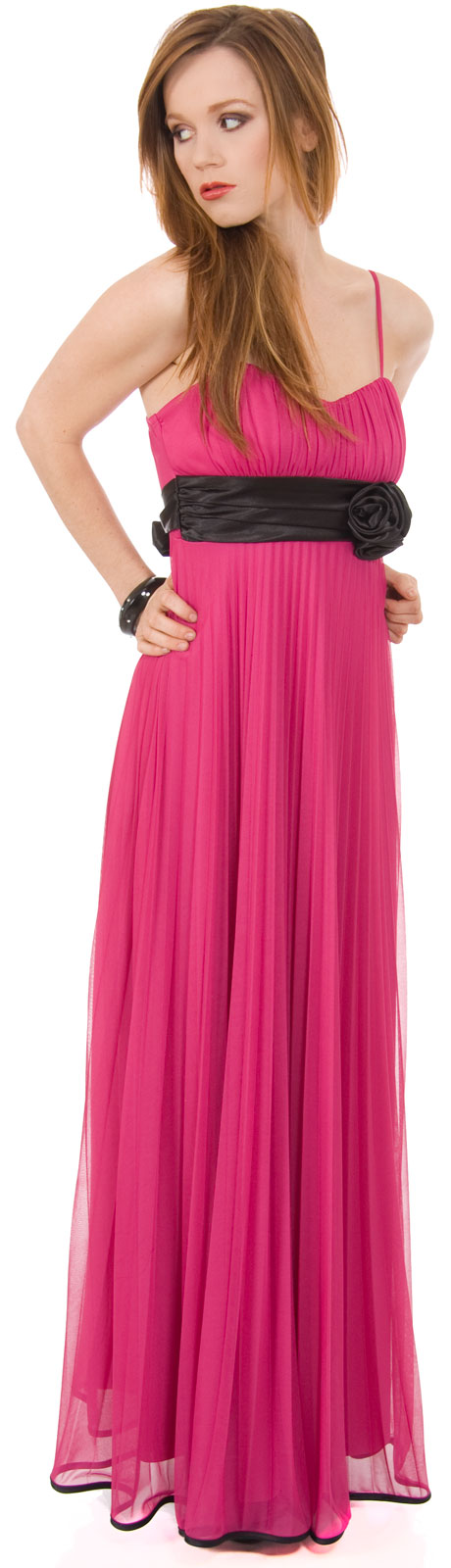 Image of Roman Inspired Long Formal Dress With Floral Applique in Magenta
