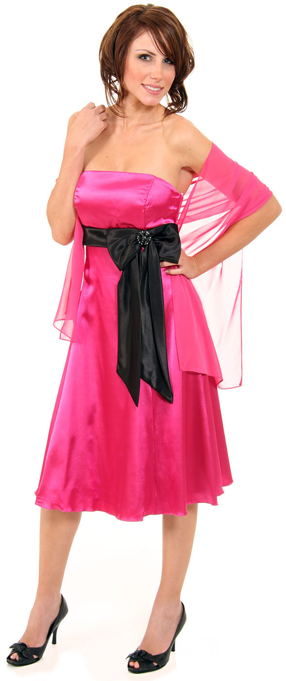 Main image of Strapless Two Toned Prom Dress With Bow Appliqu