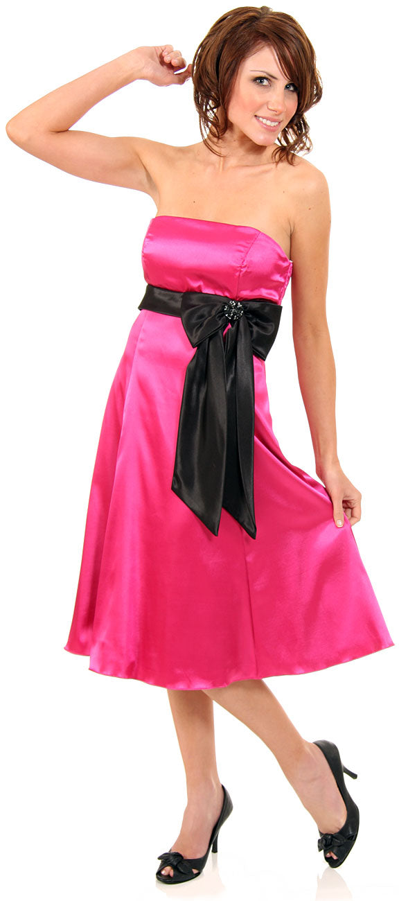 Image of Strapless Two Toned Prom Dress With Bow Appliqu in alternative image