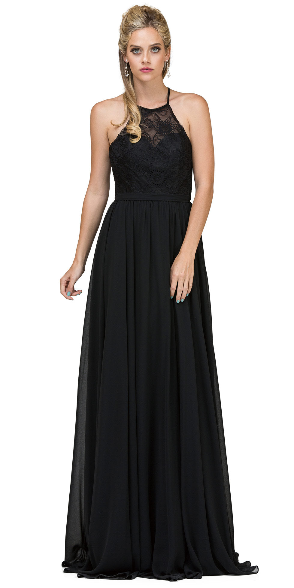 Image of Lace Bodice Criss Cross Back Long Bridesmaid Dress in Black