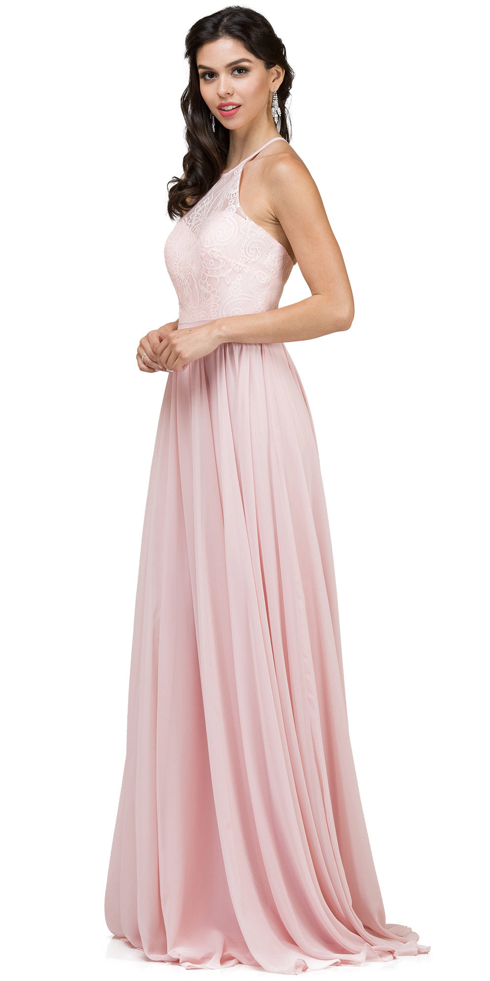 Image of Lace Bodice Criss Cross Back Long Bridesmaid Dress in Blush