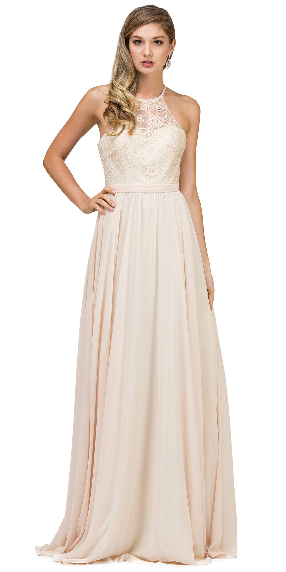 Image of Lace Bodice Criss Cross Back Long Bridesmaid Dress in Champaign