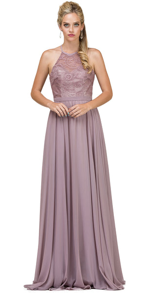 Image of Lace Bodice Criss Cross Back Long Bridesmaid Dress in Mocha